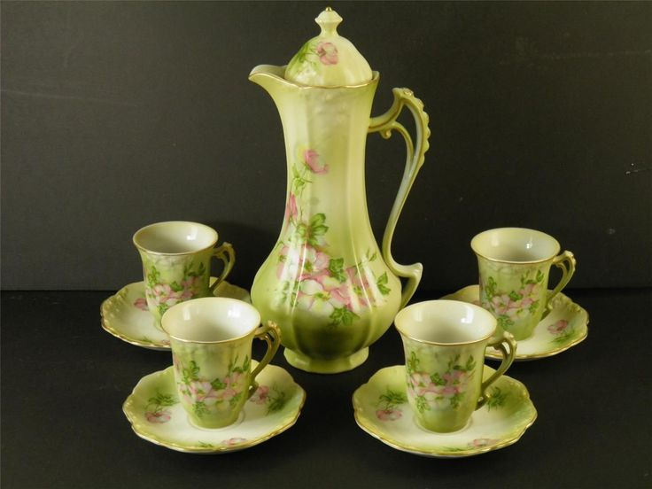 Hand Painted Nippon Floral Chocolate Tea Set 9 Pieces