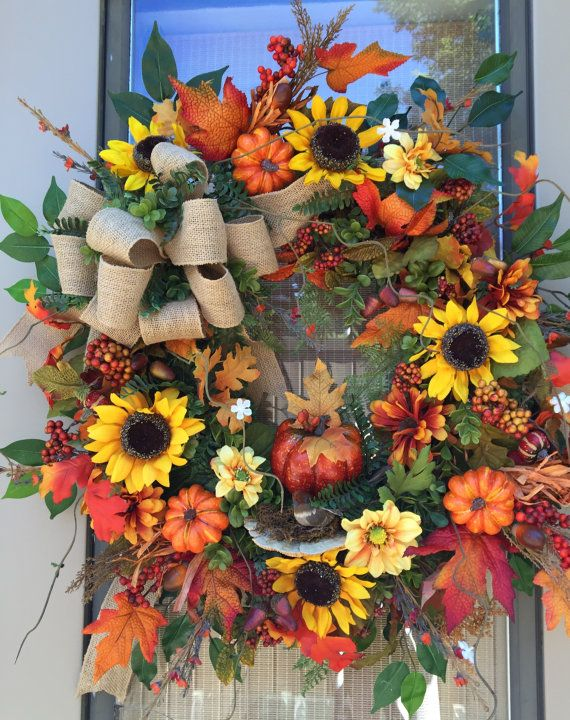 """AUTUMN MAGIC"" - XXL Rustic Farmhouse Pumpkin Fall Floral Wreath Decoration with Mushroom and Pretty Bird by DecorClassicFlorals, $ 169.95 on Etsy"