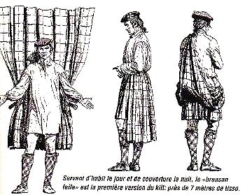 A simple  illustration of the belted plaid. Ah, now I finally get it.