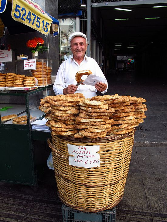 Koulouri street food. Photo by Nate Gray. Repinned by http://www.greece-travel-secrets.com/Athens-Food-Tours.html