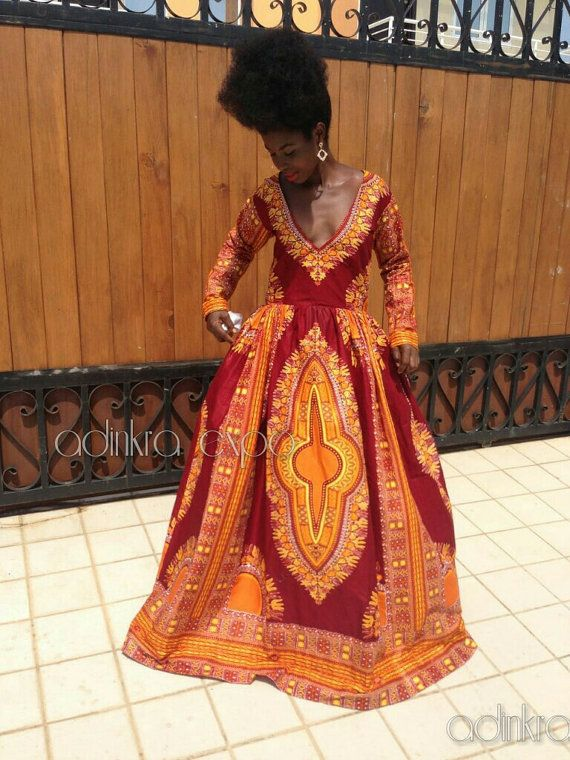 Dashiki Dress/ African Prom Dress/ Dashiki Prom by AdinkraExpo ~African fashion, Ankara, kitenge, African women dresses, African prints, African men's fashion, Nigerian style, Ghanaian fashion ~DKK