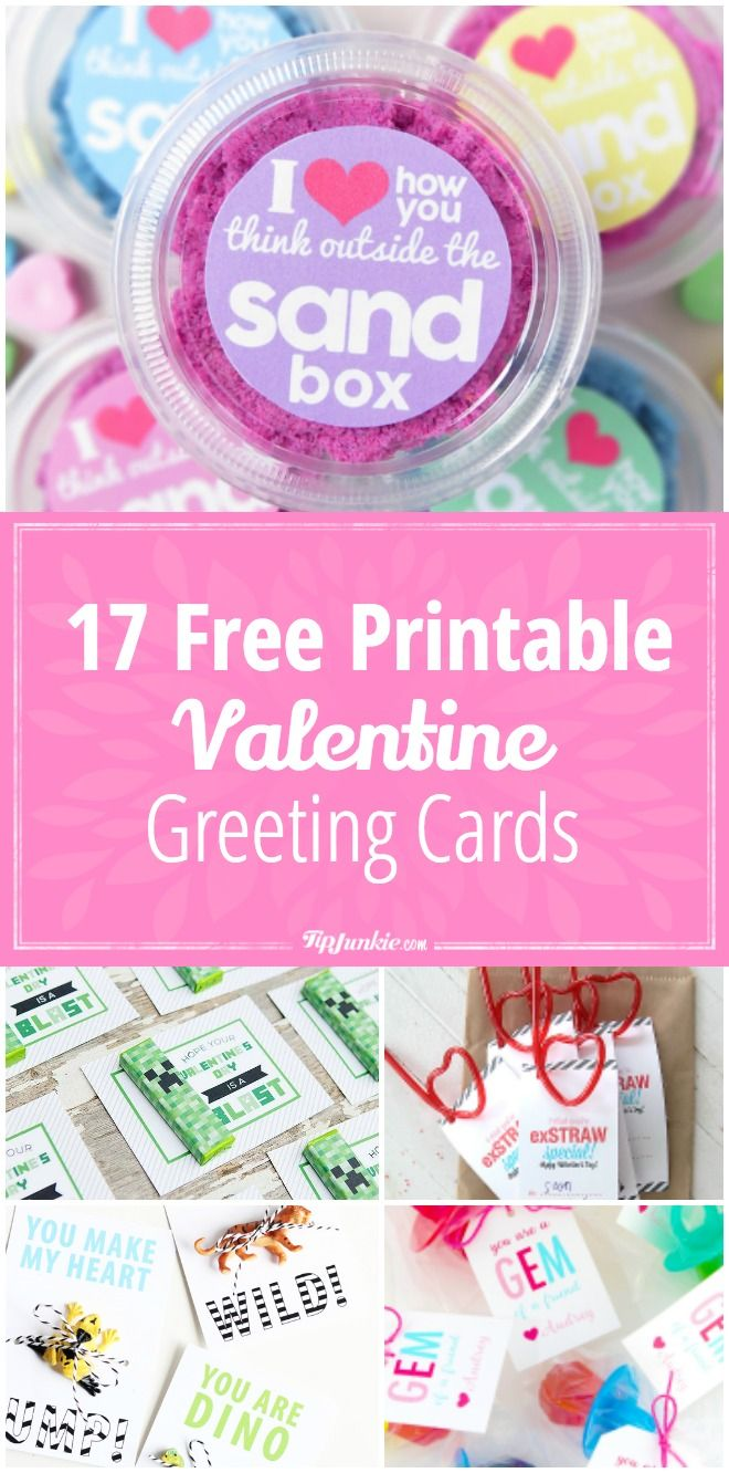 17 Free Printable Valentine Greeting Cards via @tipjunkie-How to make Valentine greeting cards with free printables.  These free printable Valentines include homemade valentines card, party favors and treat ideas.
