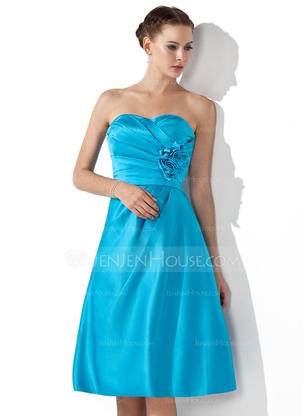 Empire Sweetheart Knee-Length Satin Bridesmaid Dress With Ruffle Flower(s) (007000934)
