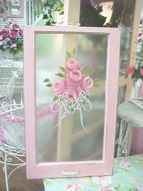 Window Hand Painted Roses Beautiful Shabby Old Window