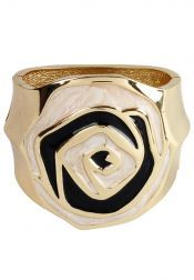 Tucked In  Tucked In Big Gold Bangle with Black-White Rose