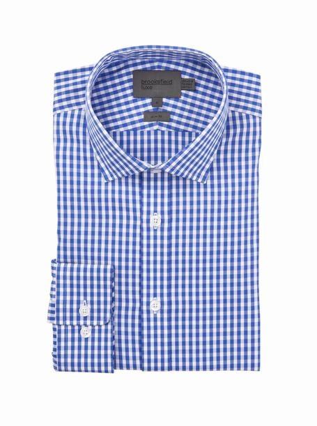 brooksfield toba oxford check shirt - bfc932 blue