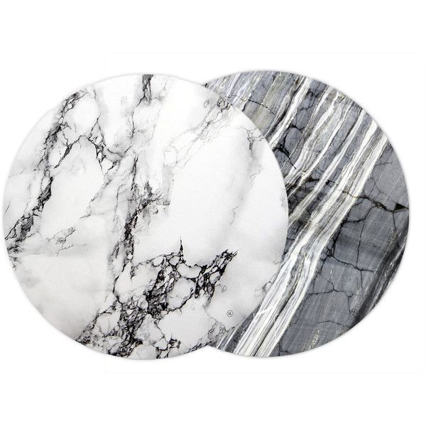 Marble Reversible Placemats ($30) ❤ liked on Polyvore featuring home, kitchen & dining, table linens, colored placemats, dinner placemats, white placemats, white table linens and gray placemats