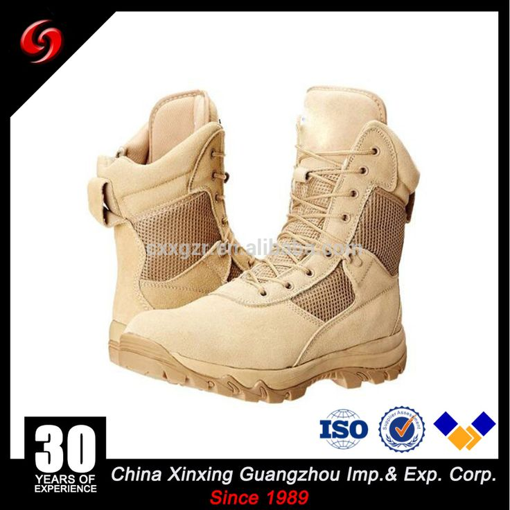 Military Desert Color Suede Leather Boots/Military Boots With Zipper