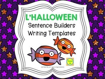 $ French Halloween Sentence Builders + Writing Templates