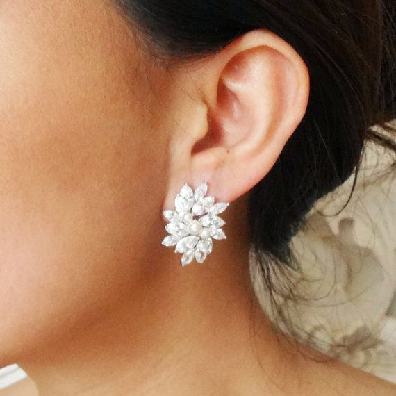 Statement Cubic Zirconia Bridal Stud Earrings, Vintage Inspired Wedding Bridal Jewelry, CZ Flower Stud Wedding Earrings, ESTELLE