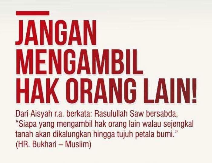 Jangan Mengambil Hak Orang Lain Aarif Billah Kutipan Muslim Islamic Quotes Nasihat Ayah