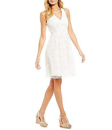 Adrianna Papell Halter Neck Lace Fit And Flare Dress #Dillards