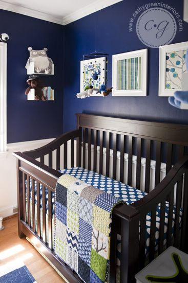 Navy, Green, & White Nursery ~ Cathy Green Interiors