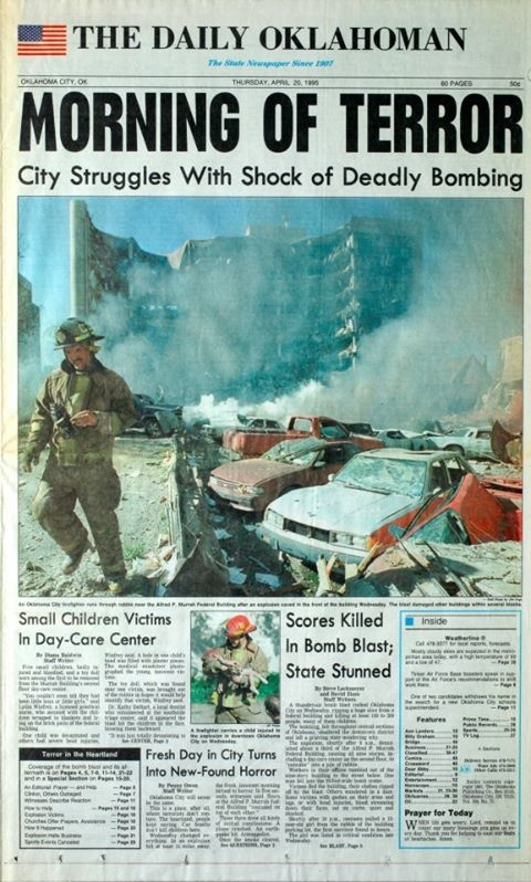 1995: Many feared dead in Oklahoma bombing A huge car bomb has exploded at a government building in Oklahoma City killing at least 80 people including 17 children at a nursery. At least 100 people have been injured and the number of dead is expected to rise. The blast destroyed the facade of the ten-storey Building.There were scenes of chaos as paramedics treated the wounded on the pavement and rescue workers battled to dig out those still trapped in the rubble.