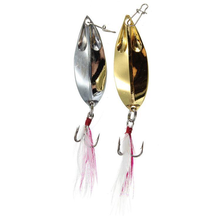 2 unids/lote 2 Colores Cuchara de Metal Señuelos de Pesca Cebo Duro del Agua Dulce Bass Leucomas Del Tipo de Pez de Caza Y Pesca