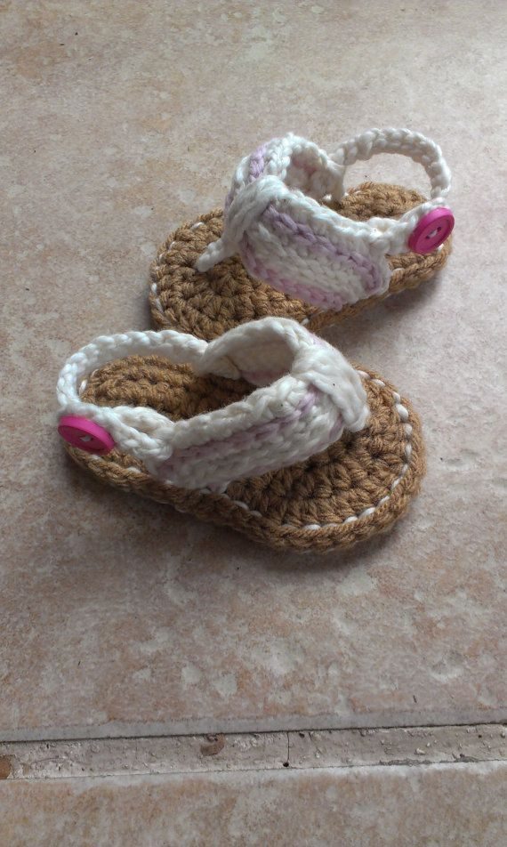 Crochet Baby Sandals, Baby Flip Flops, Crochet Baby Shoes, Sizes 0-6 Months and 6-12 Months on Etsy, $18.50