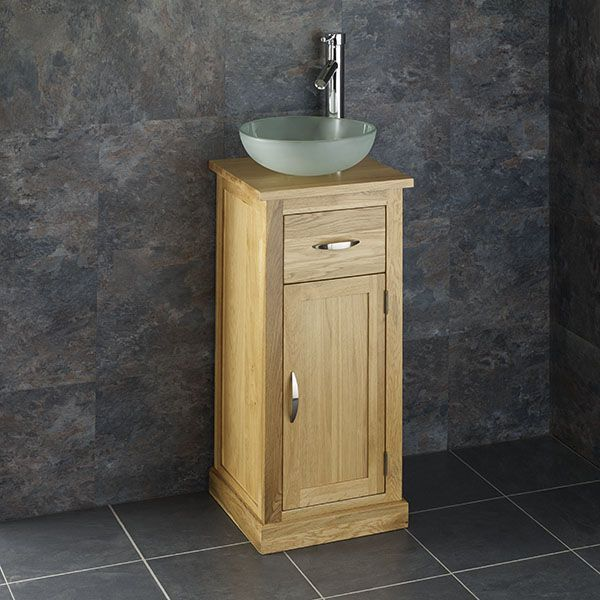 round glass basin with cube solid oak