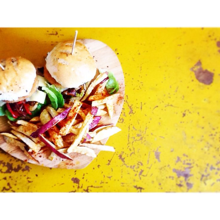 Meat free schnitzel burgers w white cheddar x vegetable atchar