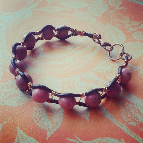 Wire Wrapped Leather Rhodonite Bracelet