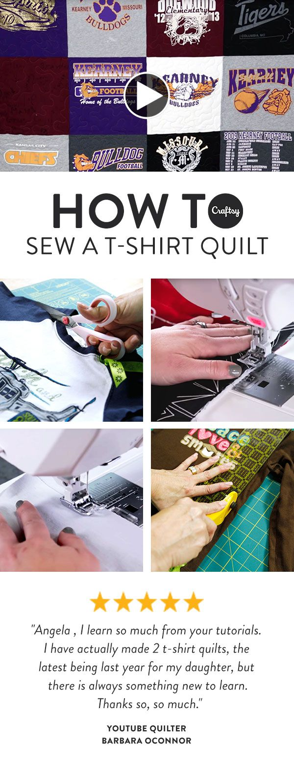 Transform your favorite tees into a cozy quilt! In this tutorial Angela Walters guides you through t-shirt quilting step-by-step. Watch the video >>