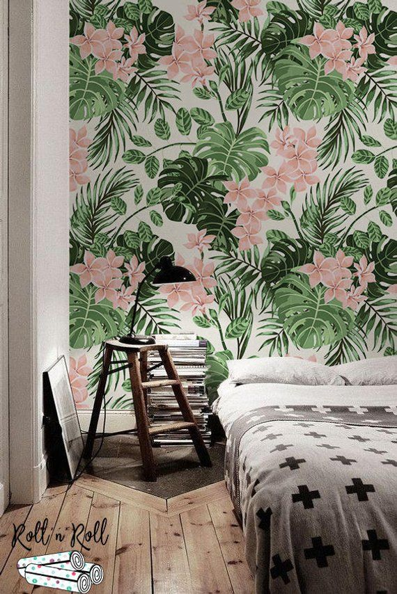 Tropical removable wallpaper Floral Watercolor leaves Summer Island home decor