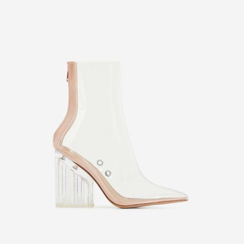 490c1ea0da3 Mimi Perspex Block Heel Pointed Ankle Sock Boot In Clear