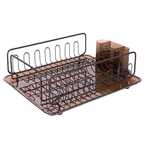 InterDesign Forma Kitchen Dish Drainer Rack w/ Glasses Drying Tray, Amber/Bronze #InterDesign