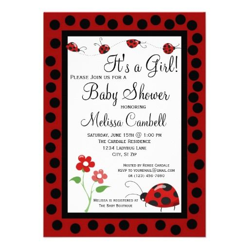 Red Black Ladybug Baby Shower Invitation Template SOLD on Zazzle