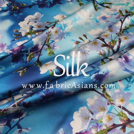 """Cherry Blossom. Blue Silk Fabric. Digital Printed Silk. Stretch Satin. 42"""" wide. 19momme. SSB100636"""