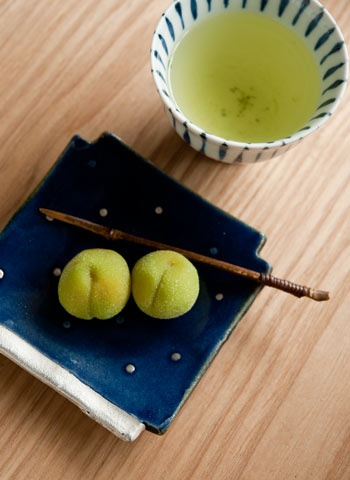 Japanese Style Tea Time with Wagashi Cake and Green Tea