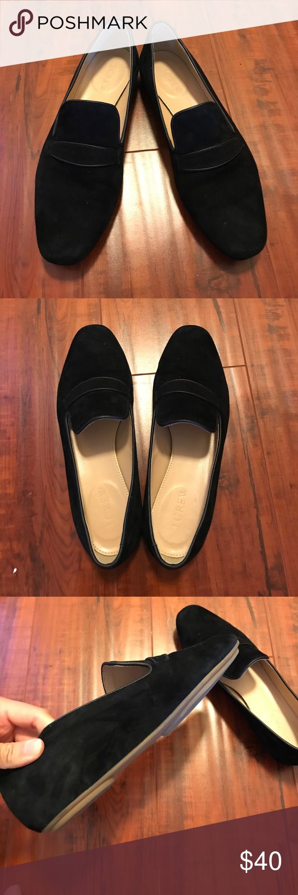 Worn Once - Jcrew Black Suede Loafers Like new condition - super soft, penny suede loafers J. Crew Shoes Flats & Loafers