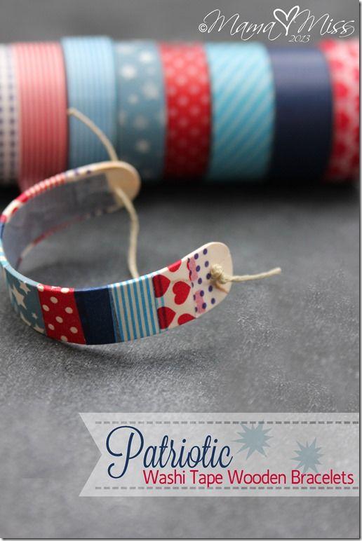 IJsstokje buigen door nat maken. Dan washitape gebruiken voor de decoratie. AK.  DIY: Patriotic Washi Tape Wooden Bracelets