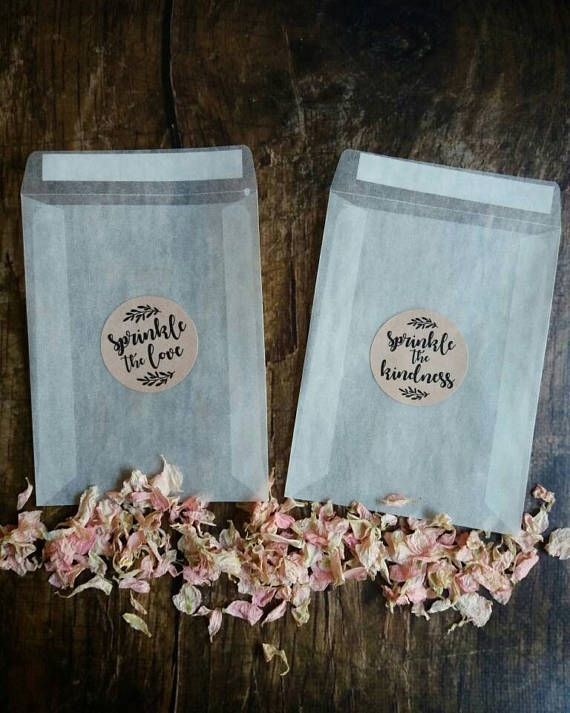 Peel and Seal glassine confetti bags + natural themed kraft brown stickers ( without confetti) The glassine bags are stylish little translucent bags that offer a chic alternative to confetti cones. Sealed with a SPRINKLE THE LOVE or SPRINKLE THE KINDNESS Glassine envelopes are