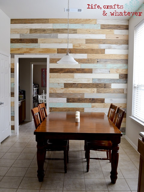 make a plank wall - buy plywood sheeting and stain/paint away and then screw it in the wall....love the colors she choose!