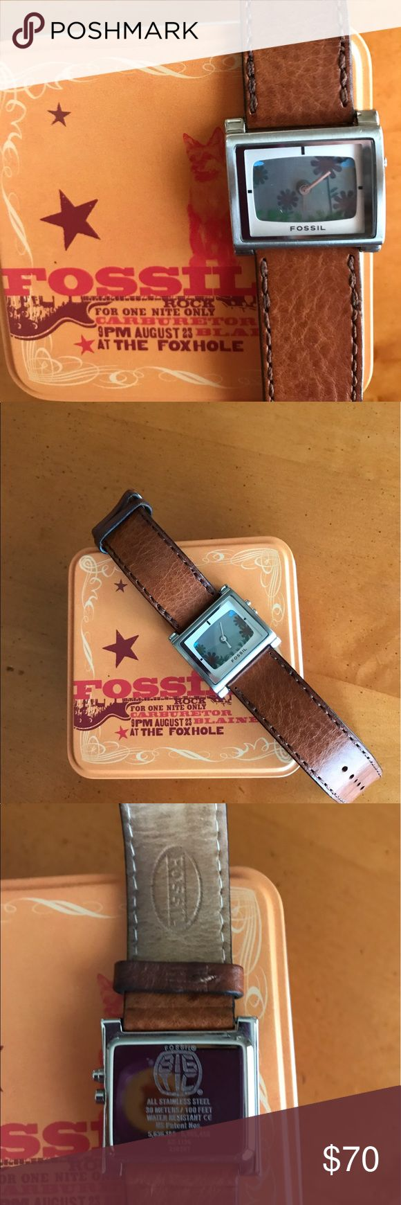 Fossil BIG TIC Flashing 🌸Flowers🌺Leather Watch Pre-loved Ladies Fossil Big Tic ES-1126 Flashing 🌸Flowers 🌺 Leather Watch. Very rare piece, takes two batteries. Just purchased and replaced batteries, watch works great! Fossil Accessories Watches