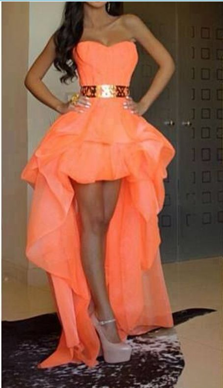 Sexy High Low Sweetheart Gold Belt Long Orange Prom Dresses Evening Gown,Front Short Long Back Women Prom Gowns Evening Dress