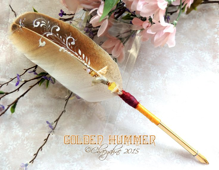 GOLDEN HUMMER Hummingbird Feather Quill Pen by Chaeyahne