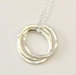 Handmade Sterling Silver Russian Wedding Ring Style Hoop Pendant Necklace £27.50