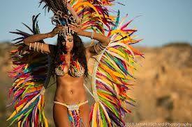 Multi-coloured brazilian samba costume with back piece