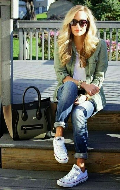 My inspiration picture:  military jacket, white tee, cuffed jeans, and converse!