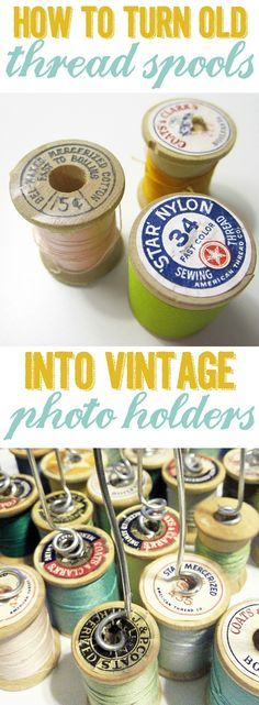 Turn old thread spools into vintage photo holders. Perfect craft for DIY wedding table decor.