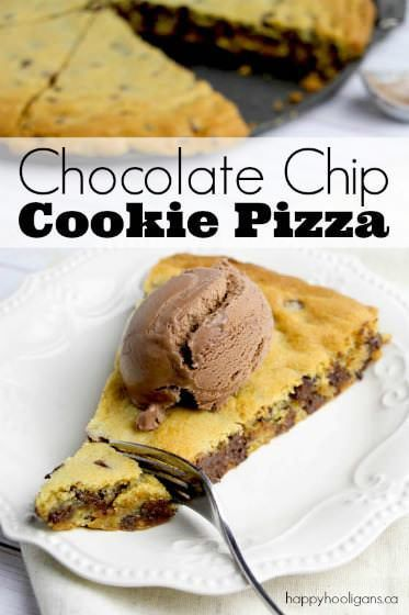 Easy and delicious, this giant chocolate chip cookie pizza feeds a crowd! 10 minutes and 1 bowl. Perfect dessert for potlucks, birthdays and get-togethers