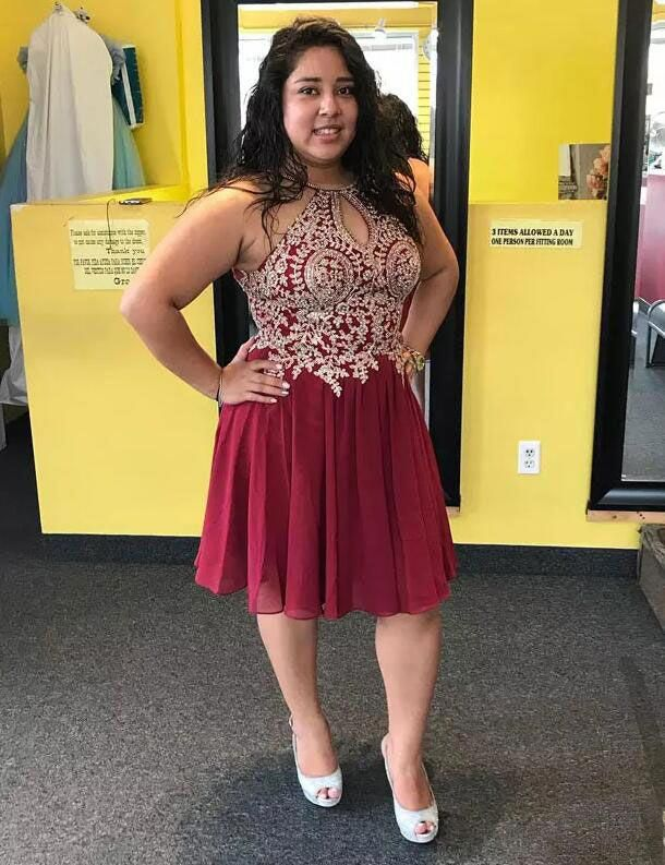 Halter Plus Size Short Burgundy Homecoming Dresses with ...