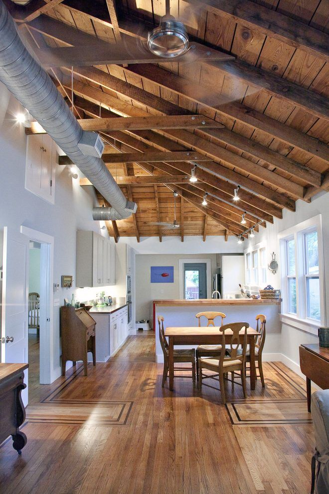 Exposed Rafters Kitchen Traditional With White Cabinet