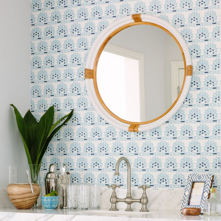 Modern Bathroom with Blue Patterned Wall and Accent Mirror | Rita Chan Interiors