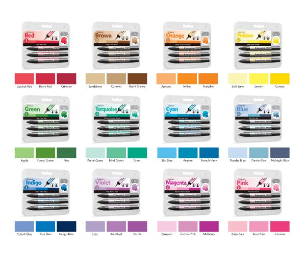3 Set Groups of Promarkers - colours which blend well together