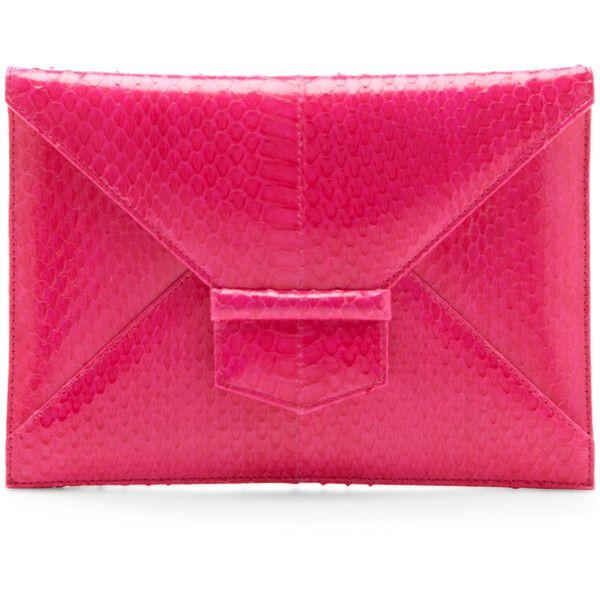 Oscar de la Renta Shocking Pink Midi Envolope Clutch ($990) ❤ liked on Polyvore