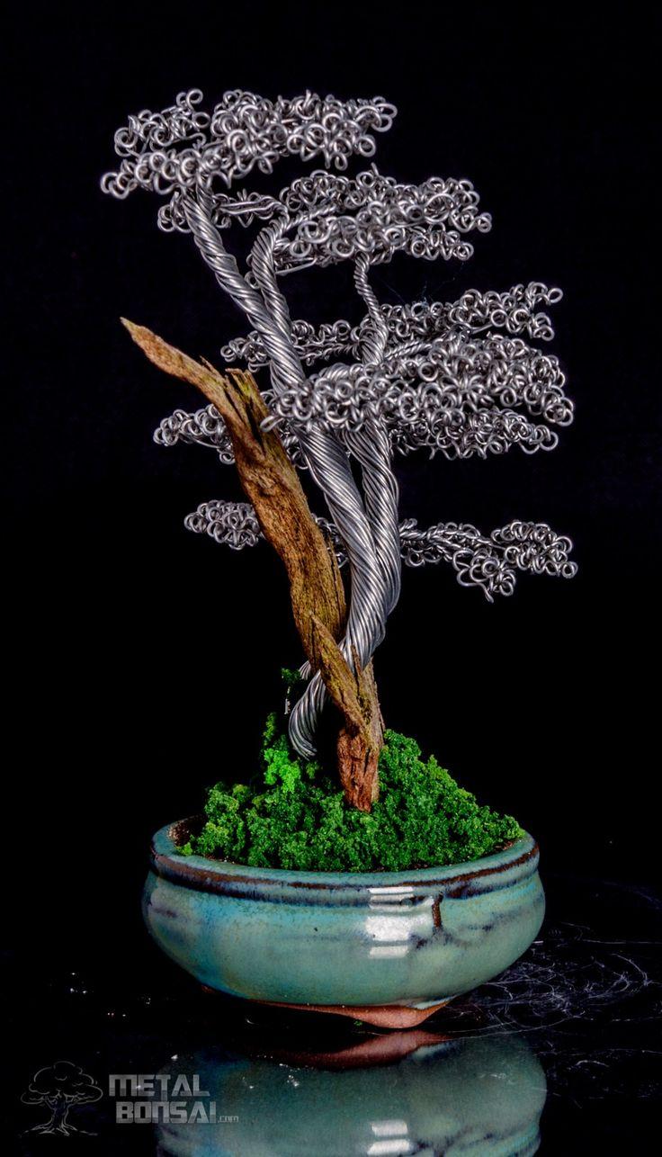 SOLD- Shari Deadwood Bonsai Tree Sculpture in Green Pot – Metal Bonsai Wire Tree Sculptures