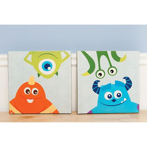 Disney Baby Monsters Inc Premier 2 Piece Canvas Wall Art Kids Line