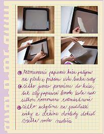 Na takto vytvorený papier môžeme pokojne maľovat. Ja som si tu nakreslila myšičku :))    ...... alebo použit ako paspartu na grafiku ... už iba pod sklo a...